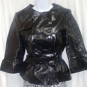 Patent Leather Cropped Trench by Bebe